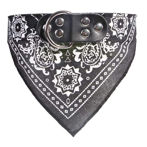 Ltong Adjustable Dog Bandana Leather Printed Soft Collar For dog Pet Supplies Cat Dog Scarf Collar For Chihuahua Puppy Pet neckerchief,Black,L