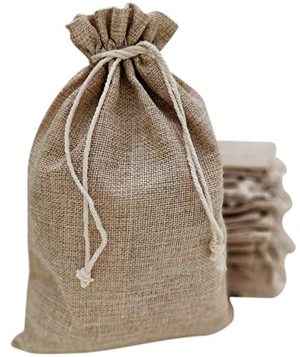 10x14 Inch Burlap Bags with Drawstring - 25 Reusable Grocery Household Kitchen Storage Wedding and Birthday Party Favor Goody Gift BagSacks