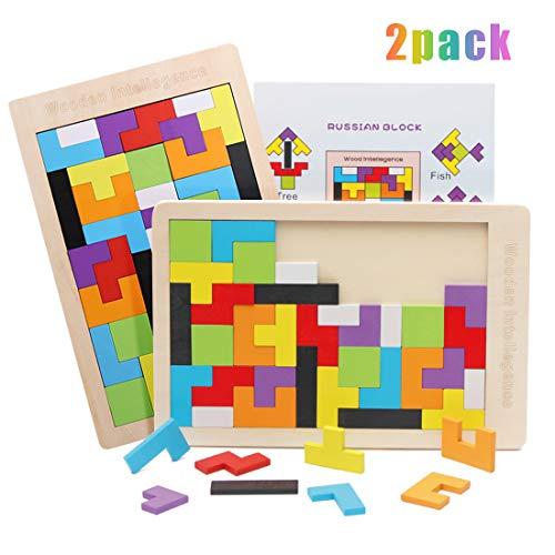 2 Pack Holz Tetris Tangram Wooden Puzzle Holztetris Gehirntraining Spielzeug Montessori Pädagogisches Geburtstagsgeschenk Spiel Baustein Intelligenz Vorschulspiel für Kinder über 36 Monate
