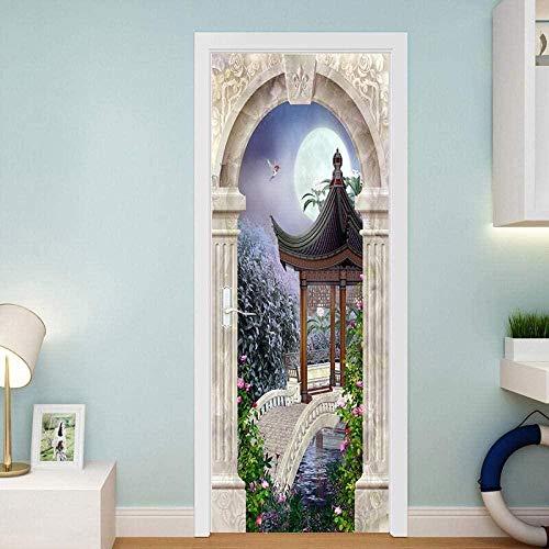 Etiqueta de la puerta Arco de piedra Gazebo Puente de piedra Pintura decorativa Pegatinas de puerta Pintura decorativa extraíble autoadhesiva sucia85cm(W)*215cm(H)