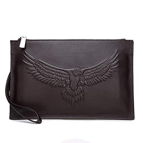 Embossed Leather Clutch, First Layer Cowhide, Eye-Catching Texture, Large Capacity, Black