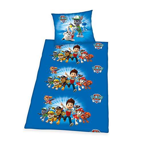 Herding Paw Patrol Bedding Set, Reversible, Pillow case 70 x 90 cm, Duvet cover 140 x 200 cm, Cotton/linen, Blue/multi-coloured