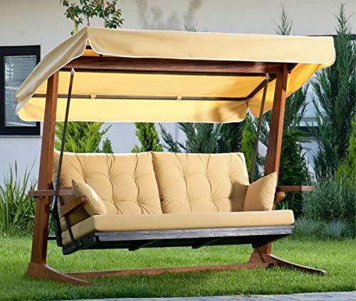 Casa Padrino Columpio de Hollywood de Lujo Beige/marrón - Columpio de jardín Moderno Resistente a la Intemperie con toldo para el Sol - Columpio de Terraza de Jardín - Muebles de Hotel