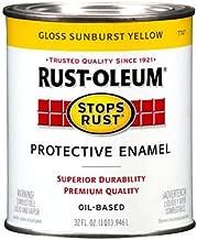 Rust-Oleum 7747502 Stops Rust Brush On Paint, Quart, Gloss Sunburst Yellow