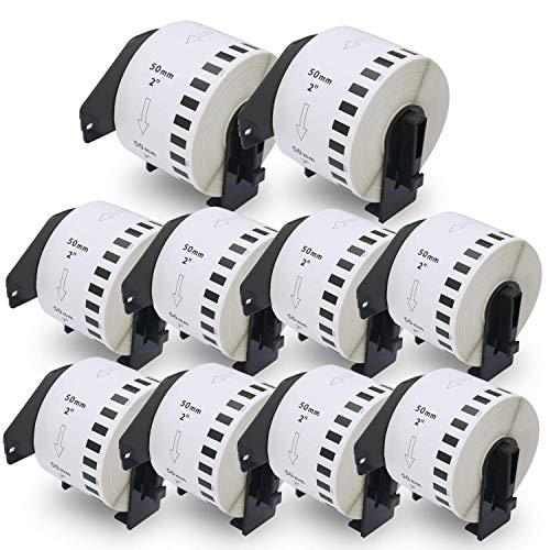 BETCKEY Etiketten kompatibel mit Brother DK-22223 50mm x 30,48m 10 set, Endlose Papier Etiketten für Brother: QL1050 QL1060N QL500 QL550 QL560 QL570 QL600 QL700 QL710W QL720NW QL-1100