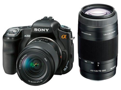 ソニー SONY デジタル一眼レフカメラWズームレンズキット α200 ダブルズームキット DSLR-A200W
