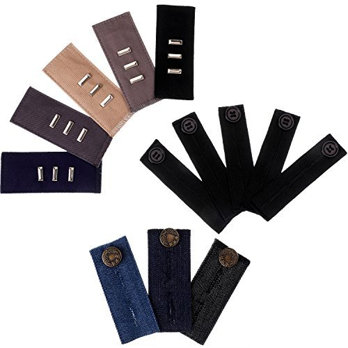 Skylety Waistband Extender Pants Waist Elastic Extenders Set, 3 Types for Jeans, Skirt, Trousers (Set 1, 13 Pieces)