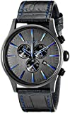 Nixon Men's A4052153 Sentry Chrono Black Stainless Steel Watch with Genuine Leather Band