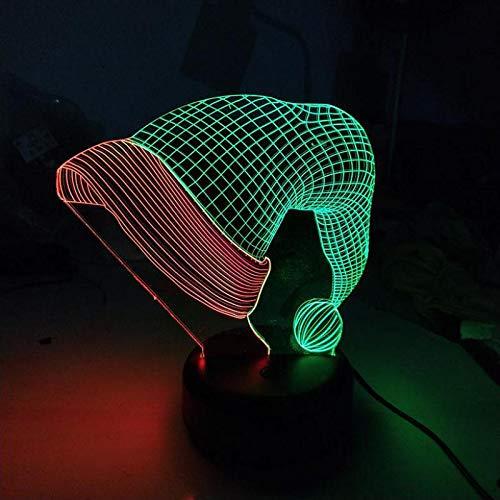 3D lamp bedlampje kerstmuts nachtlampje voor kinderkamer, led-lamp voor woonkamer perfect geschenk voor kinderen