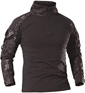 AKARMY Men's Tactical Military Army Combat T-Shirt Long Sleeve Slim Fit Camo Shirt with 1/4 Zipper