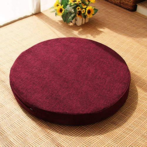 XHNXHN Cojines de asiento redondos, cojines de silla en color sólido, cojines de lino gruesos japoneses cojines de asiento para mediación lavables 2 piezas vino tinto 60 x 60 x 10 cm