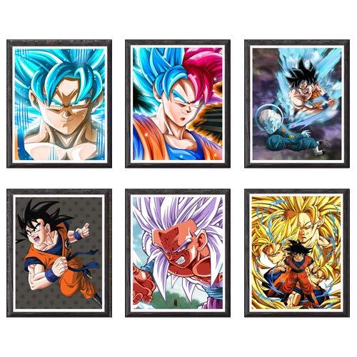 MS Fun Juego de 6 impresiones de anime de Dragon Ball de Super Saiyan Goku Vegeta para decoración, sin marco