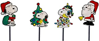 ProductWorks 12-Inch Peanuts 2D LED Pre-Lit Flat PVC Pathway Markers Featuring Snoopy Christmas Yard Art, 12-Inch