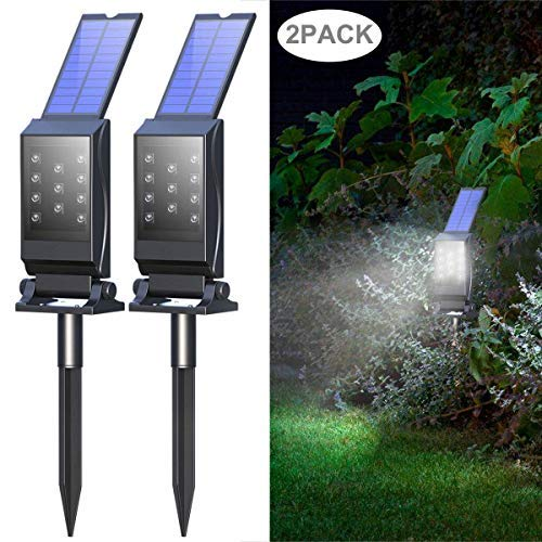 Mulcolor Solar Lights,?Latest?11 LED 2-in-1 Waterproof Solar Powered Garden Light Solar Spotlights Solar Landscape Lights, Auto On/Off for Outdoor Backyard, Driveway, Walkway, Patio,Porch (2 Pack)
