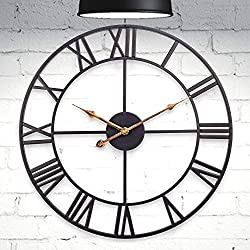 HOME GURUS Decorative Modern Large Wall Clock Non Ticking (18 Inch Metal)