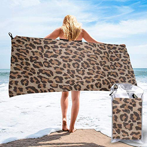 bath towel Leopard Print Animal Cat Microfiber Sand Free Beach Towel Blanket-Quick Fast Dry Super Absorbent Lightweight Thin Towel