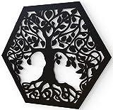 JustComfy Decoración de pared de metal, 37 x 32 cm, decoración de pared de metal negro, imágenes de metal como decoración moderna para salón y pasillo, diseño de árbol