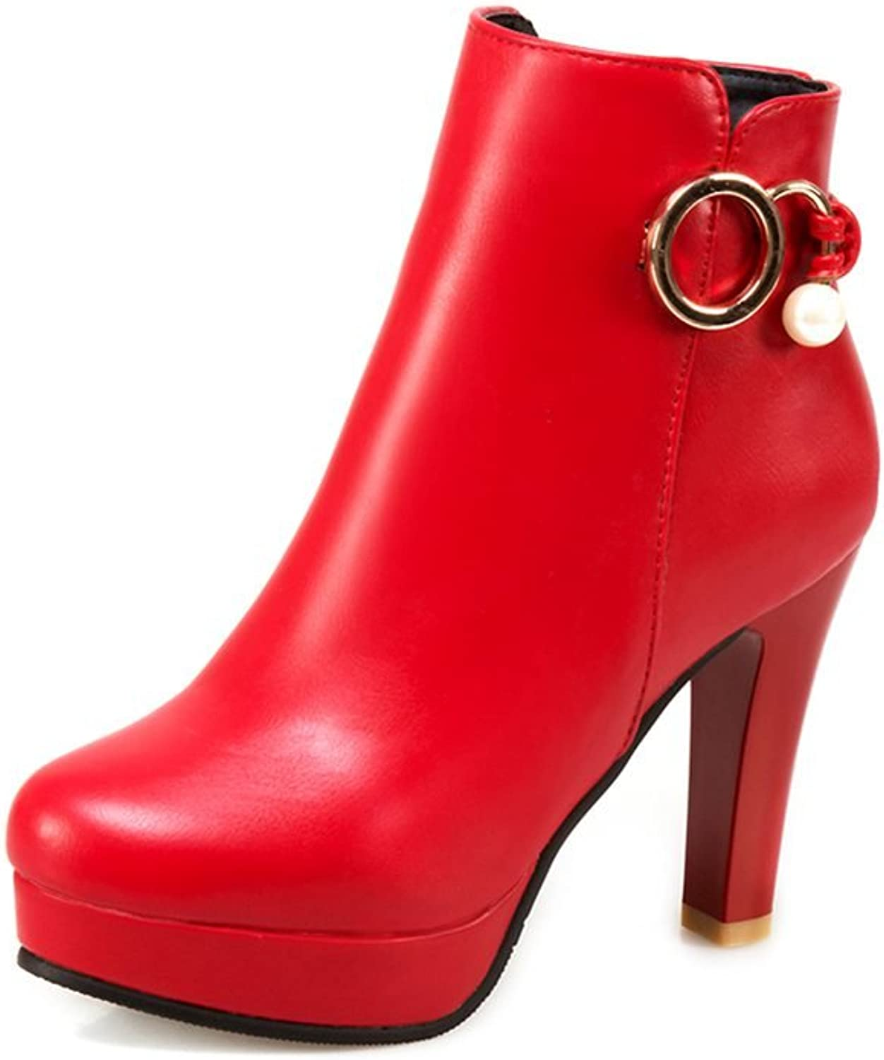 DecoStain Women's Metal Ring High Heel Ankle High Boots