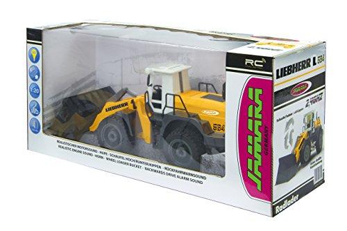 RC Auto kaufen Baufahrzeug Bild 6: Jamara 405007 - Radlader Liebherr 564 1:20 2,4G - Schaufel heben / senken / abkippen, realistischer Motorsound (abschaltbar), programmierbare Funktionen, Blinker, Autoabschaltfunktion, 2 Radantrieb*