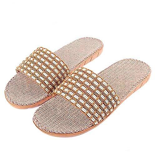 LINGZIA Zapatos Casuales Zapatillas de Lino para el hogar para Hombres, Sandalias de Lino Transpirables y Transpirables Chanclas Zapatillas de baño de Verano para Hombre Zapatos 11 SYM-JPCoffee