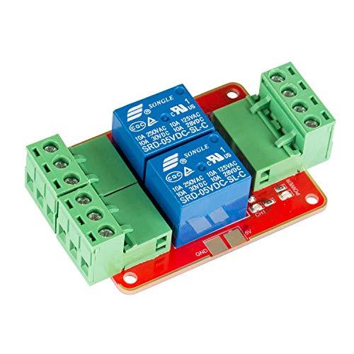 SUNFOUNDER 2 Kanal Relais Modul DC 5V Netzteil Relaisplatine mit Optokoppler High Level Triger für Arduino und Raspberry Pi (MEHRWEG)