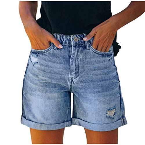 Letdown(TM) Knee Length High Waist Jeans Shorts for Women Summer Ripped Hole Casual High Rise Denim Short Jeans with Pockets