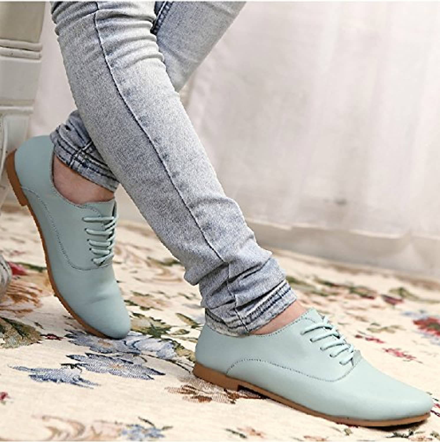 WHW Women shoes flat with the tether strap single shoe leather shoes students round head ,bluee,35