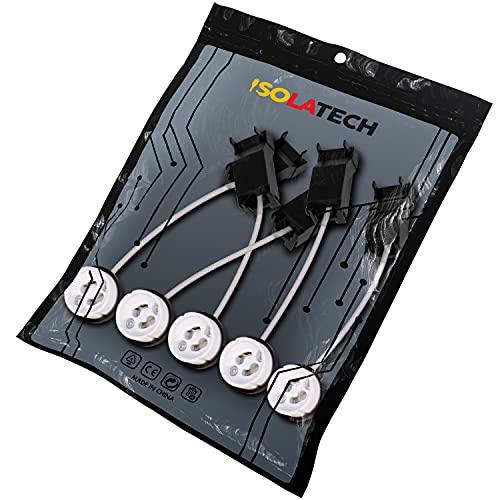 Portalámparas ignífugos GU10 con caja de conexiones y conector rápido. VDE RoHS 230-250 voltios 2A máx. 100W para lámparas halógenas y LED de ISOLATECH, aquí: 5 piezas