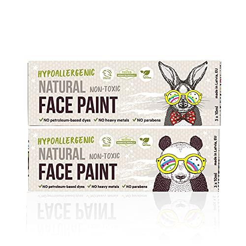 BioKidd Gesichtsfarbe Schminkset für Kinder Bio Natürliche Kinderschminke für Sensitive Haut, Bodypainting Schminkpalette, 6 washbar Face Paint Farben 2X Set - Sale!!!