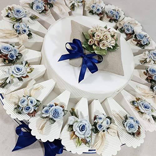 Torta per bomboniere con mazzi di fiori in ceramica di Capodimonte, bomboniera matrimonio (Torta da 20 fette)