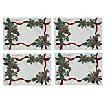 Lintex Evergreen Garland Double Ribbon Bordered Cottage Christmas Placemats, Holly and Pine Cone Country Xmas Holiday Easy Care Fabric Placemats, Set of 4 Sage Bordered Placemat