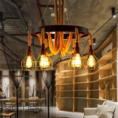 HAOXJ1 Retro Corda della Canapa Lampadario, 6 luci con Paralume in Ferro battuto Bar Ristorante del soffitto della Decorazione della Luce