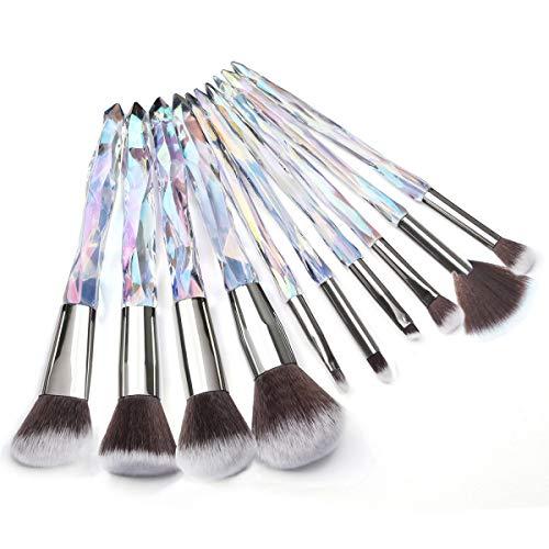 Adpartner 10PCS Makeup Brushes Popular Crystal Style Makeup Brush Set, Premium Synthetic Bristles Cosmetic Brush Professional Face Foundation Concealer Blush Eye Shadow Makeup Tools