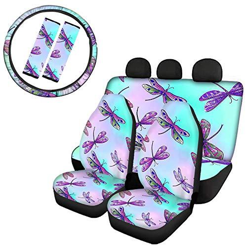 Renewold Juego de 7 piezas, funda de asiento delantero para asiento trasero dividido, funda para volante automático, funda para cinturón de seguridad, fácil de instalar, diseño de libélula