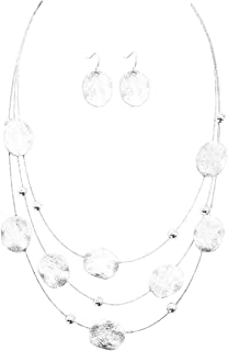 "Artisan Lightly Textured Silver-Tone Illusion Style Layered Bib Necklace, 16"", w/Oval Dangle Drop Earrings"