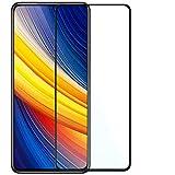 OcioDual Protector de Pantalla para Xiaomi Pocophone Poco X3 NFC/Pro Cristal Templado 9H 9D Vidrio Antigolpes Marco Borde Negro