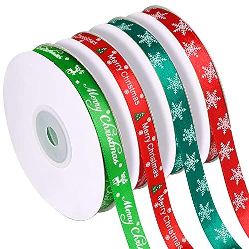 Qhui Cinta de Navidad, Cintas Arbol de Navidad Rojo y Verde Artesanías Papel De Regalo Merry Christmas Ribbons Regalos de Bricolaje Lazos, Alce Copo de Nieve(10mm de Ancho)