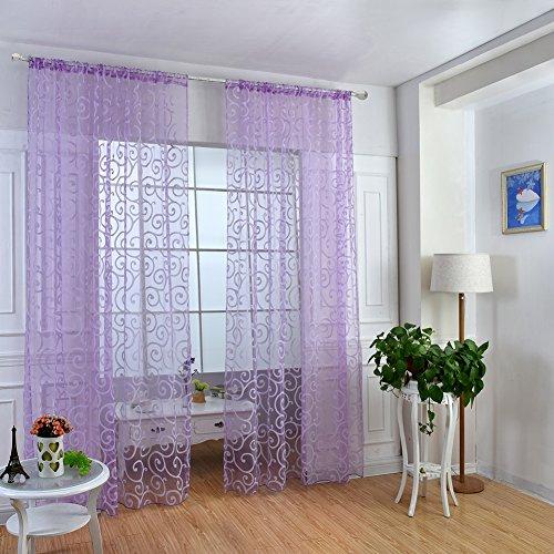 Fastar - Pannello tenda trasparente per porta o finestra, tenda in voile, motivo floreale., Purple, B:100*270cm
