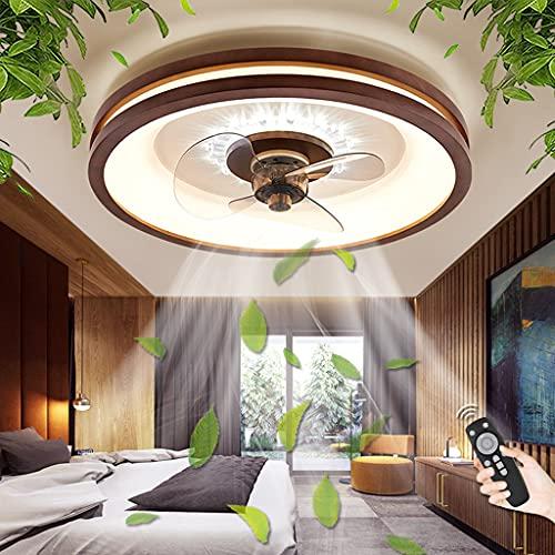 Ventilador De Techo Con Iluminación LED 48W Luz Regulable Con Control Remoto Ventilador Luz De Techo Dormitorio Habitación Infantil Comedor Fan Lámpara De Techo Ventilador De Lámpara Colgante (E)