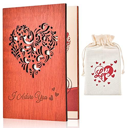 Giiffu Tarjeta Felicitacion de madera, tarjetas agradecimiento con Embalaje de bolsa con cordón y caja de regalo, para el día del padre, cumpleaños, bodas, San Valentín y aniversarios