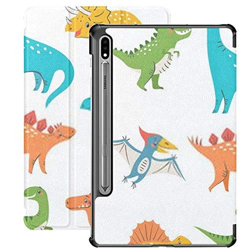 Funda Galaxy Tablet S7 Plus de 12,4 Pulgadas 2020 con Soporte para bolígrafo S, Juego de Lindos Dinosaurios Coloridos, diseño para niños, Funda Protectora con Soporte Delgado para Samsung