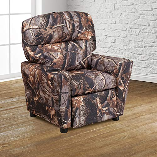 EMMA + OLIVER Camouflaged Fabric Kids Recliner with Cup Holder