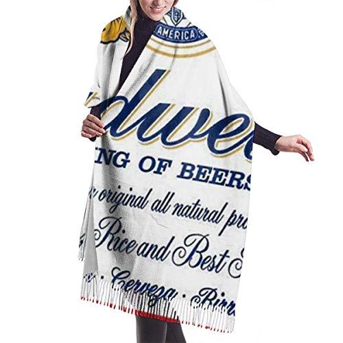 Unisex Kaschmir Schal,Übergroßer Weicher Schultertuch,Kaschmirtuch,Warmer Halstuch,Budweiser Bier Weiche Schals Wraps, Für Partyhochzeit, Schal Wrap Mit Quaste