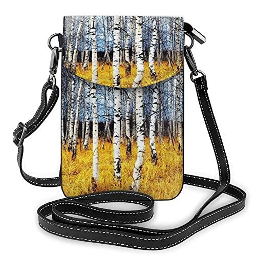 Bokueay Camo hermoso del árbol que imprime el pequeño monedero del teléfono celular, mini teléfono celular P del pequeño bolso de Crossbodyouch bolso de hombro