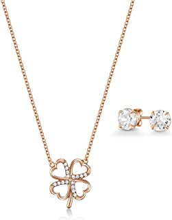Mestige Women Glass Rose Gold Clover Set with Swarovski Crystals