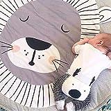 Blanketswarm - Tappeto morbido rotondo per la cameretta dei bambini, per camera da letto delle ragazze, 3 x 3 m, Cotone, Leone, 90cm=3FT