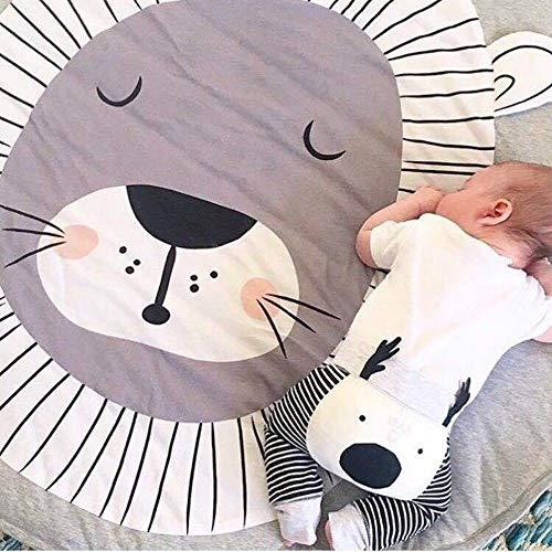 Couverture pour bébé - Tapis rond doux - Pour chambre d'enfant - Pour chambre d'enfant - 3 x 3 m, Coton, lion, 90cm=3FT