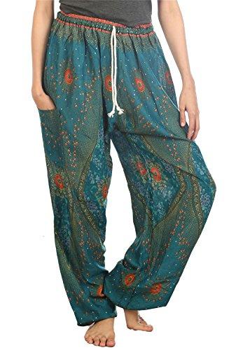 LOFBAZ Harem Pants for Women Yoga Boho Sweatpants Womens Hippie Bohemian Clothing Palazzo Beach Clothes Casual Pajama Floral 2 Teal Green Medium