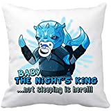 Diver Bebé Cojín con Relleno Parodia Baby The Night King Not Sleeping Is Here - Blanco, 35 x 35 cm