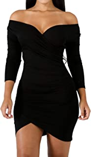 Enggras Women's Off The Shoulder Pleated V Neck Long Sleeve Club Cocktail Mini Bandage Dress